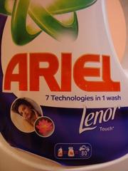Новинка в Украине. Гель для стирки Ariel+Lenor automat 5, 65 литра.